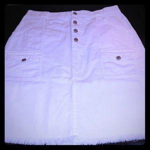 White Linen Jean Fringe Skirt